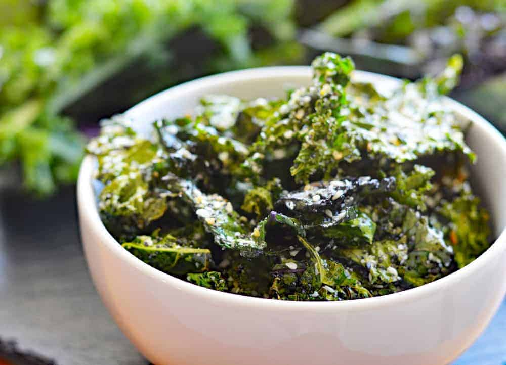 Bowl of baked Everything But The Bagel Kale Chips