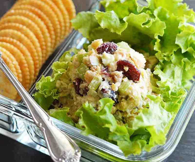 Close Up of Vegan Cranberry Walnut Chickpea Salad Recipe