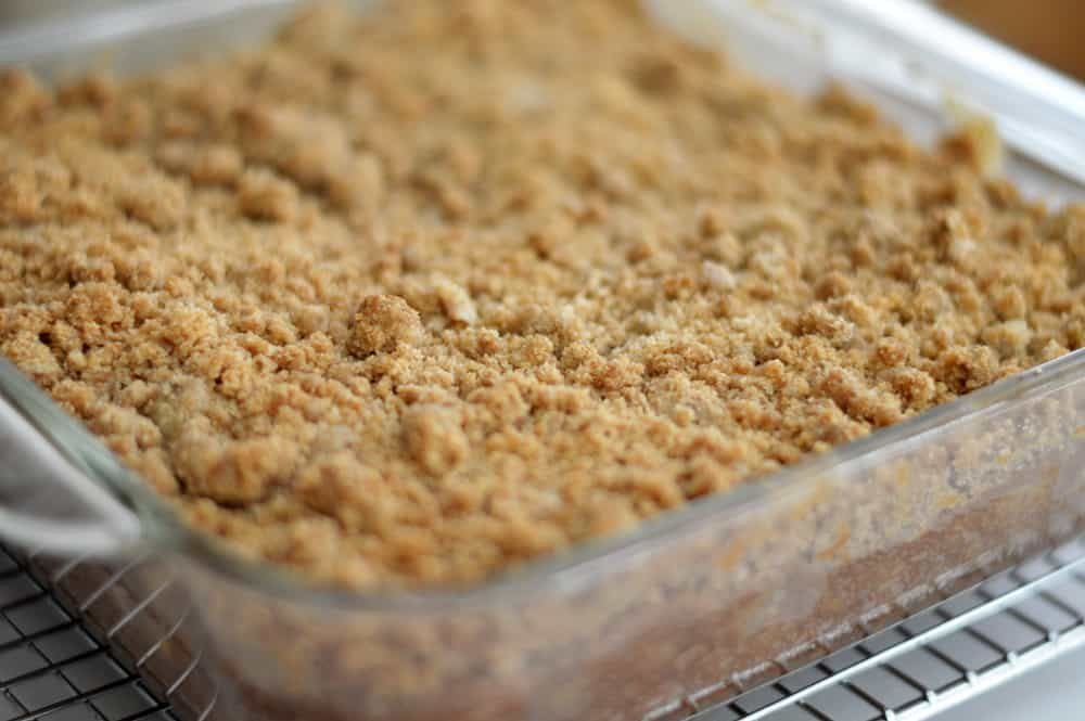 Baked Apple Crumb Cake with Powdered Sugar Glaze