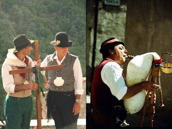Men by Piedozzino (left) and Bagpipe by Orsosolo Sioux (right)