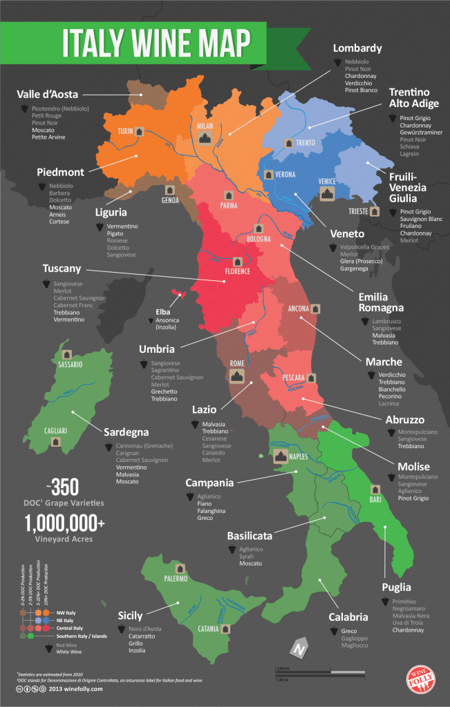 Italian wine regions map by Wine Folly