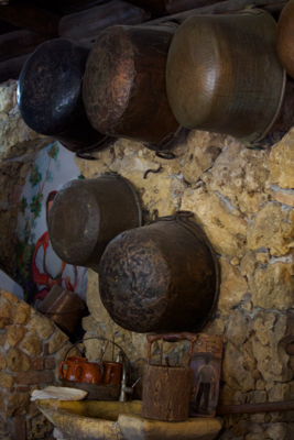 Antique copper pots used for cooking and making cheese
