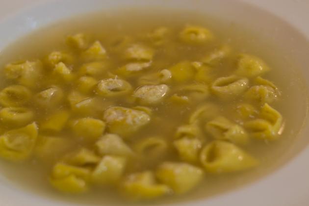 Tortellini in brodo (fresh stuffed pasta in broth)