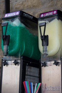 Fluorescent flavoured ice machines in a place not known for Sicilian ices...