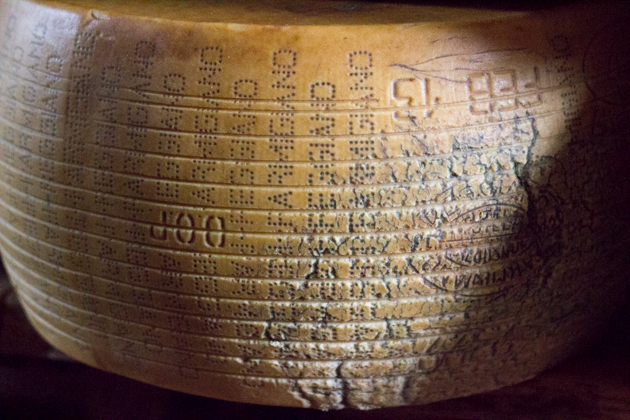 Imperfect Parmigiano-Reggiano marked by grooves