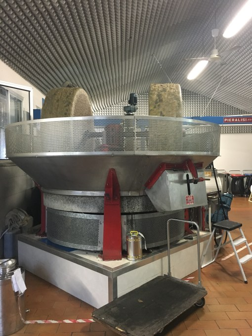 The olives being pressed
