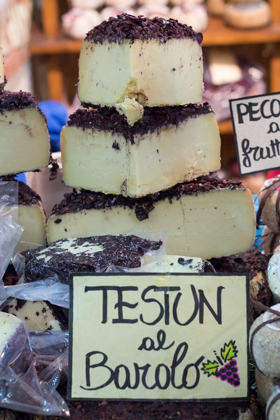Testun al Barolo (an ewe's milk cheese made with a bit of cow's milk aged in caves or cellars with leftover grape pulp from making Barolo wine)