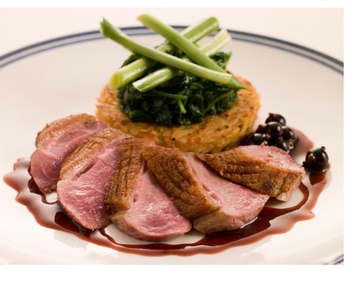 Duck breast with cherry sauce