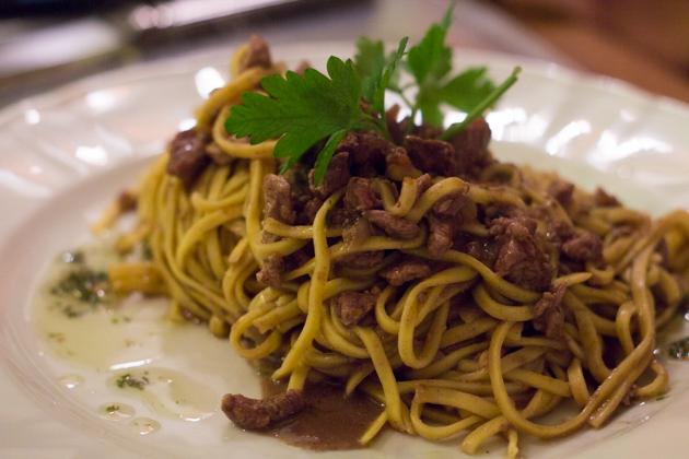 Pasta with braised venison
