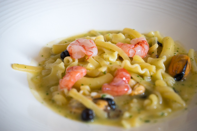 Pasta maritata (pasta with mussels, black chickpeas, red prawns and anchovy fish sauce (colatura di alici)