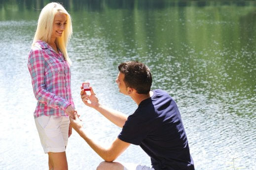 Young man propose his girlfriend