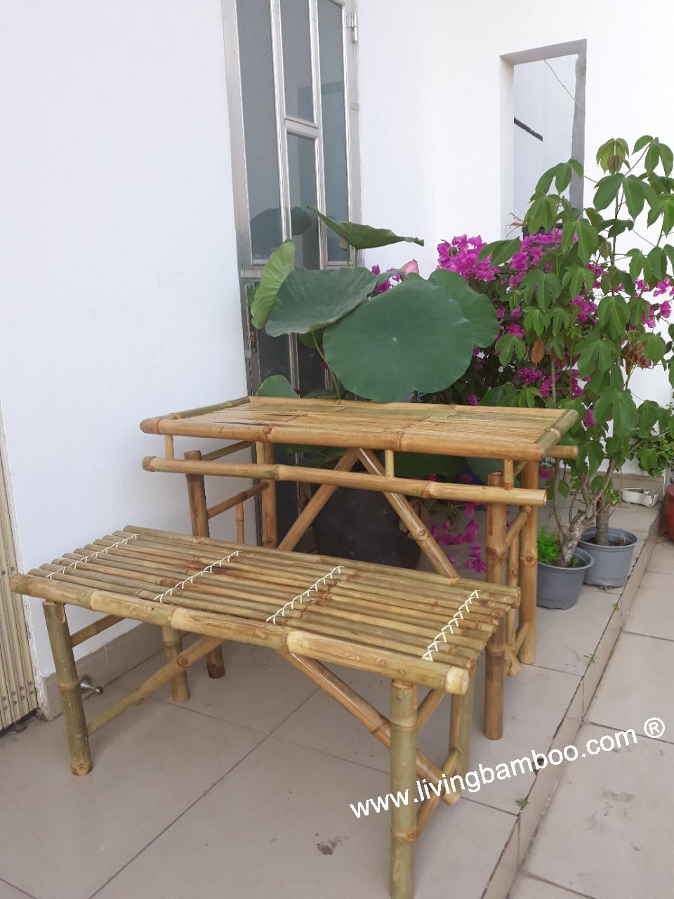bamboo outdoor chairs monoblock chair covers for sale furniture bed garden table set 2