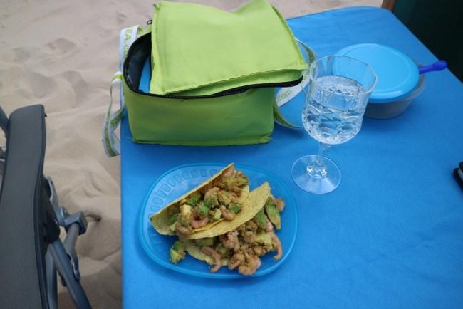 Picknick op het strand: taco's