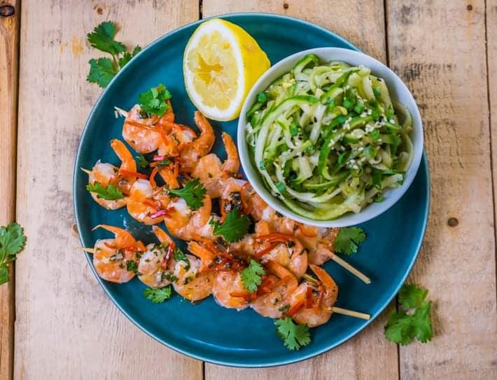 Lemon Butter Shrimp Skewers with Cucumber Noodle Salad