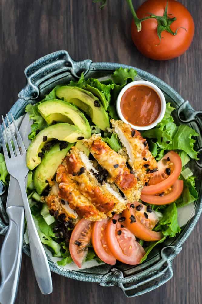 Quinoa Crusted Chicken Parmesan Salad