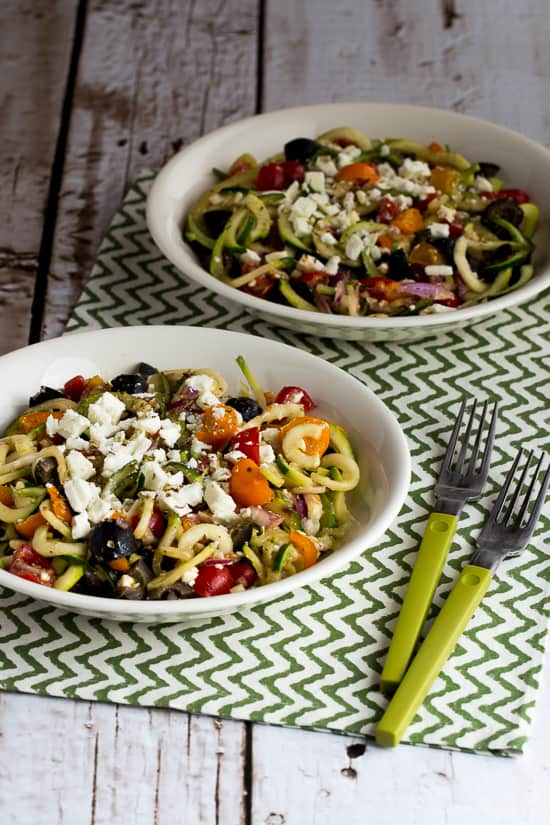 Greek-Style Zucchini Noodles With Tomatoes, Olives, And Feta