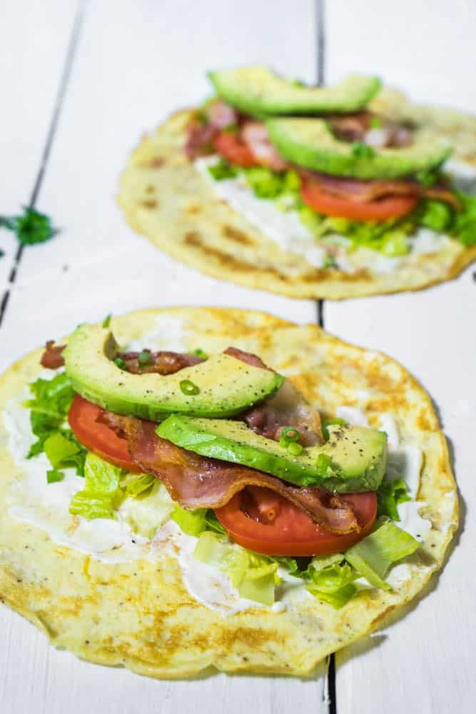 Low-Carb Breakfast Burrito with Bacon and Avocado