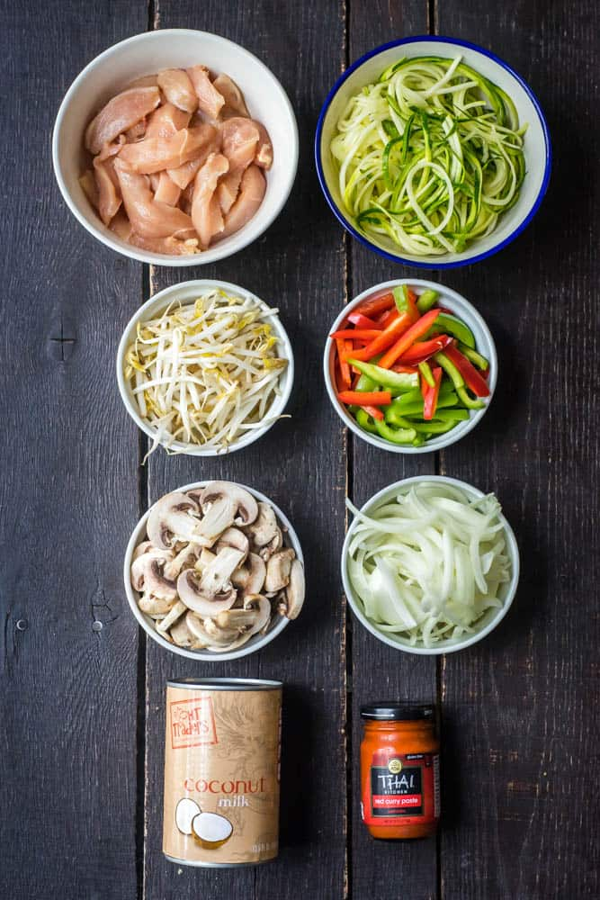 Simple Thai Chicken Red Curry with Zoodles Pin