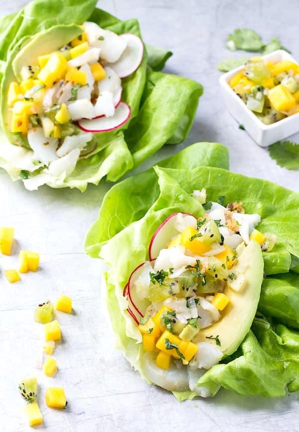 Fish Taco Lettuce Wraps with Mango Kiwi Salsa