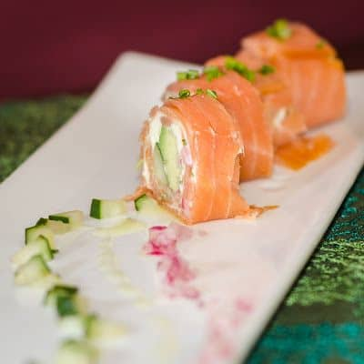 Smoked Salmon Rolls with Cucumbers Red Onions and Avocado