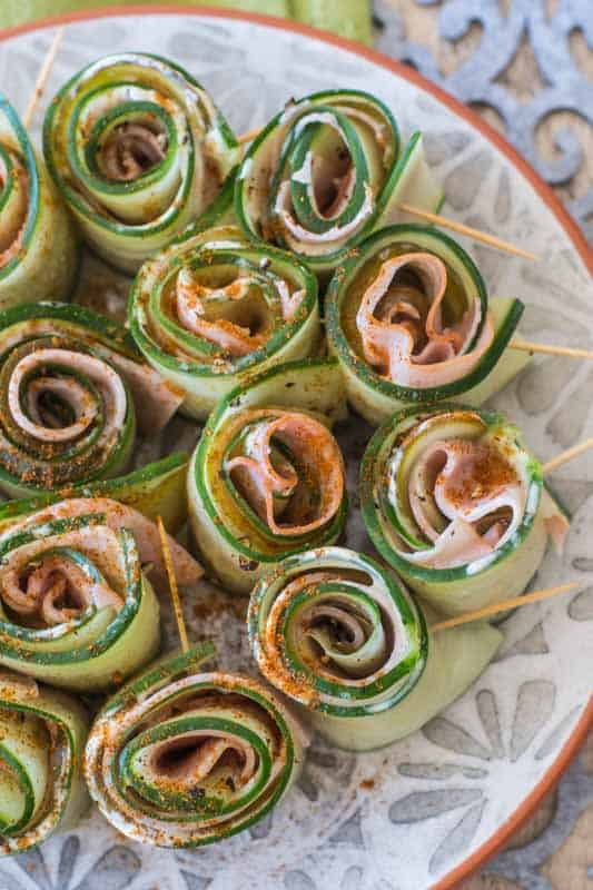 Ham and Mustard Cucumber Rolls