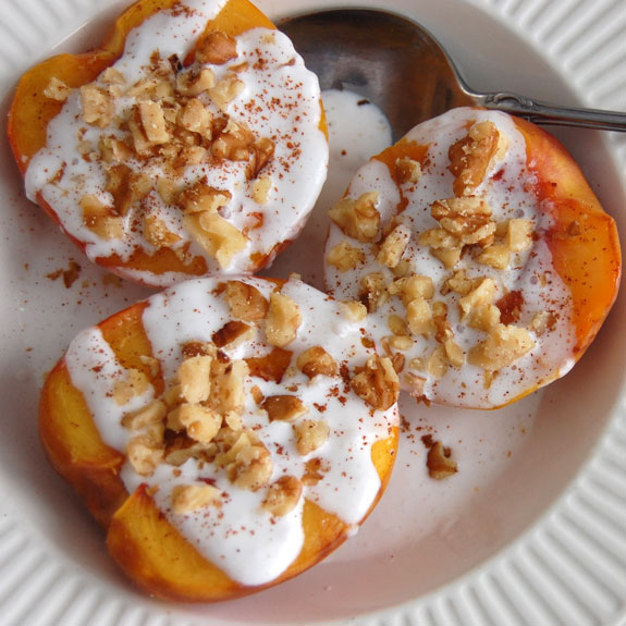 grilled peaches with coconut cream healthy low carb whole 30 paleo gluten free