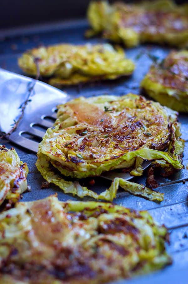 balsamic and honey roasted cabbage steaks
