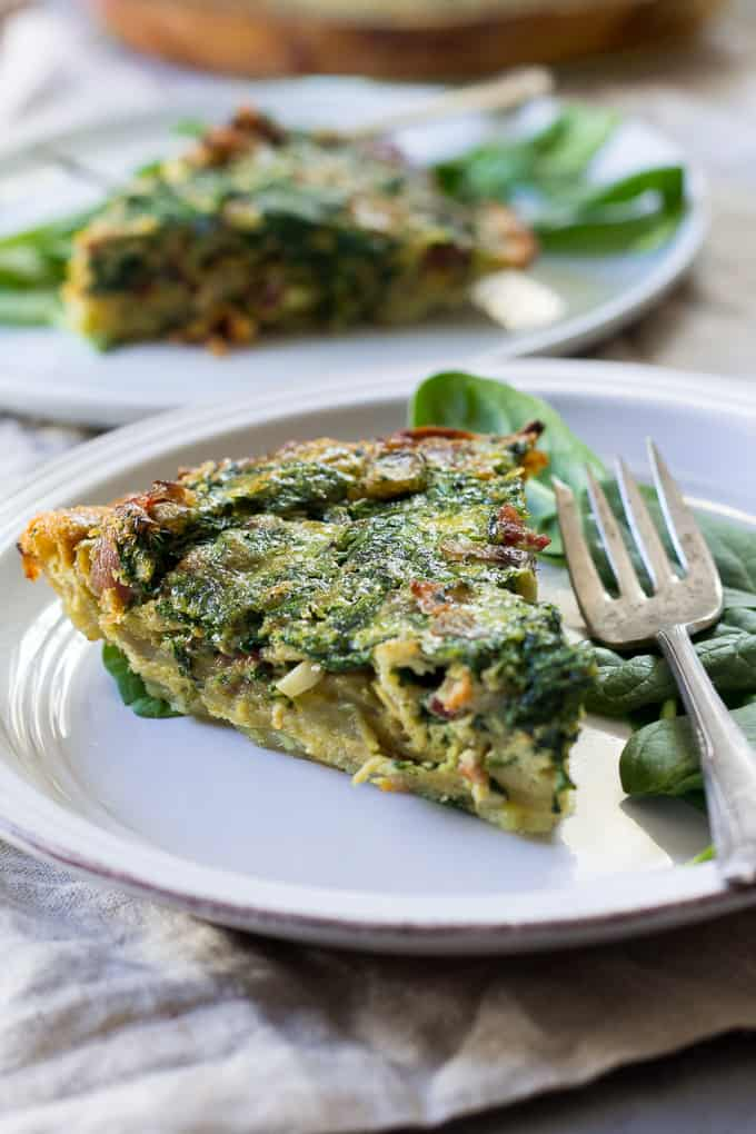 spinach quiche with bacon and mushrooms