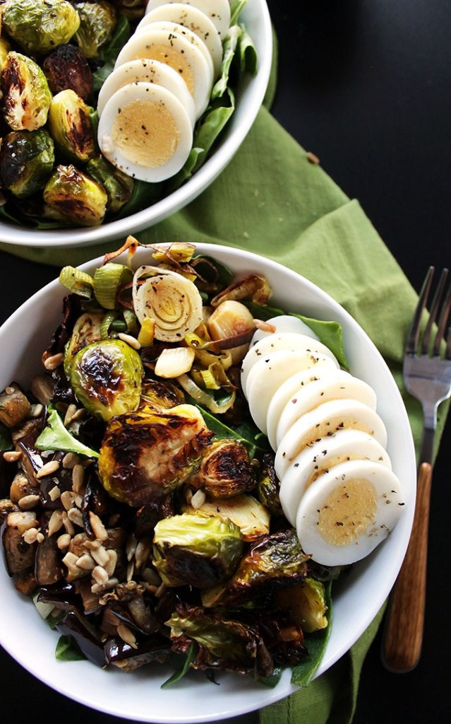 brussels sprouts and eggplant buddha bowl