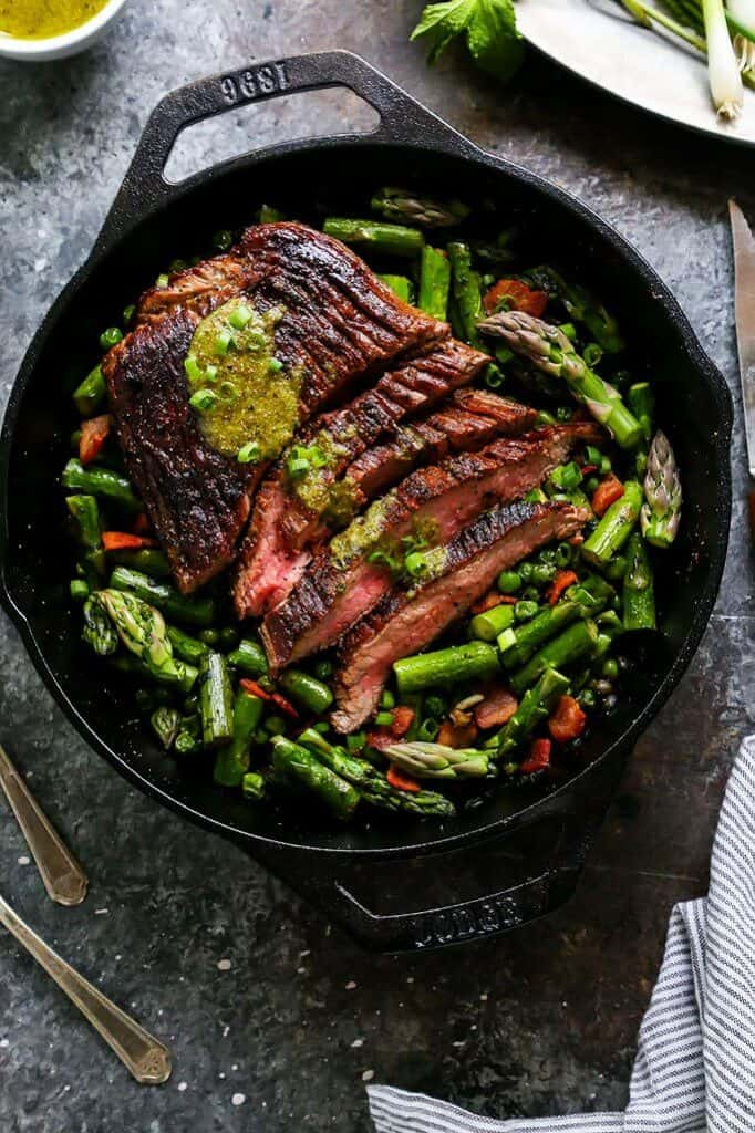 One Skillet Steak and Spring Vegetables with Mint Mustard Sauce