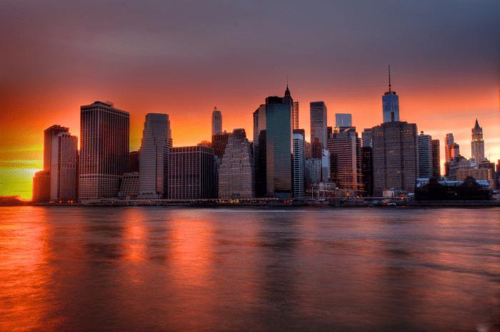 Fotomurale citt  New York Skyline al tramonto  LivingDECO