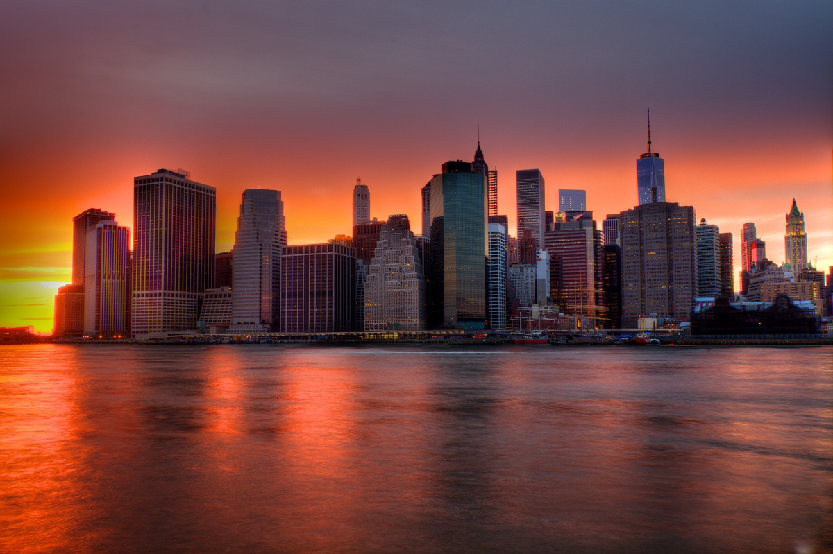 Quadro su tela  Tramonto su New York City Skyline
