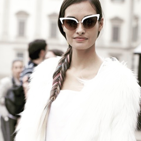 Fashion model gizeleoliveira during milanomodadonna streetstyle after the show Colorfulhellip