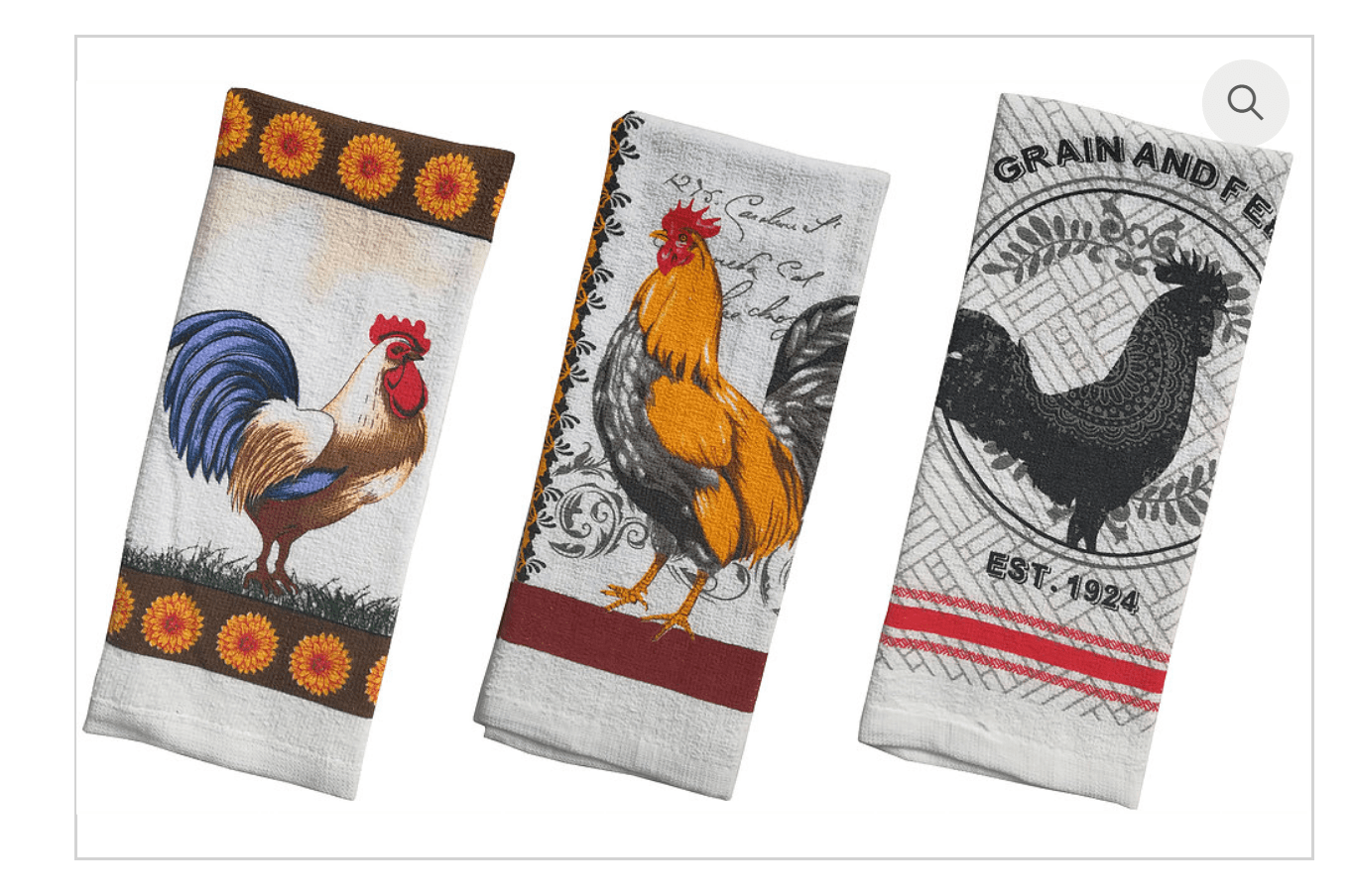 Rooster Terry Printed Kitchen Towel 3 Designs 15x25