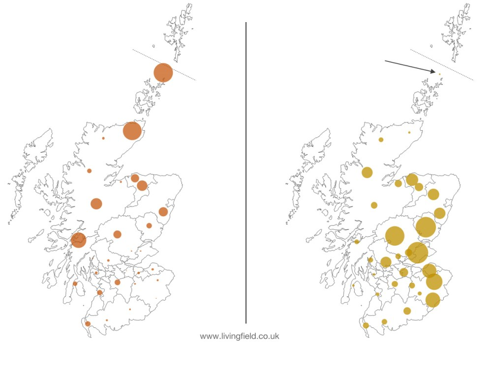 medium resolution of 1 distribution of bere left and barley right from the 1854 census each circle representing the area of crop in one of the pre 1890s counties