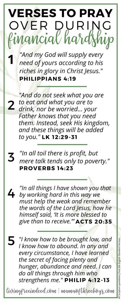 6 Verses To Pray During Financial Hardship - Free Indeed