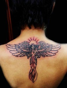 Simple Angel Tattoo with Open Arms