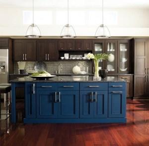 Brown Blue Kitchen units