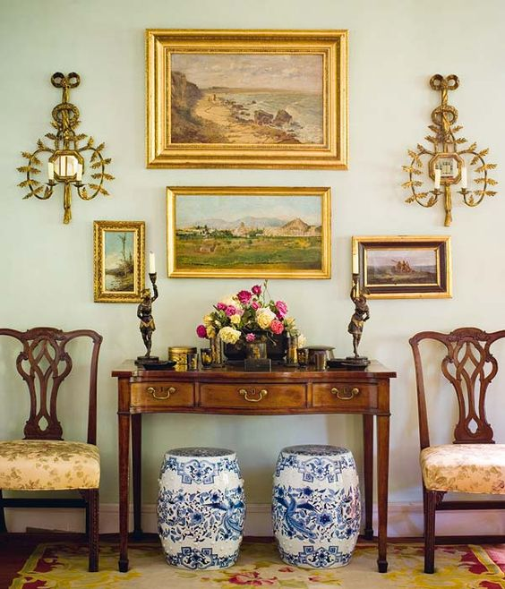 Gold Frames Brass Dining Room White Wall Victorian English