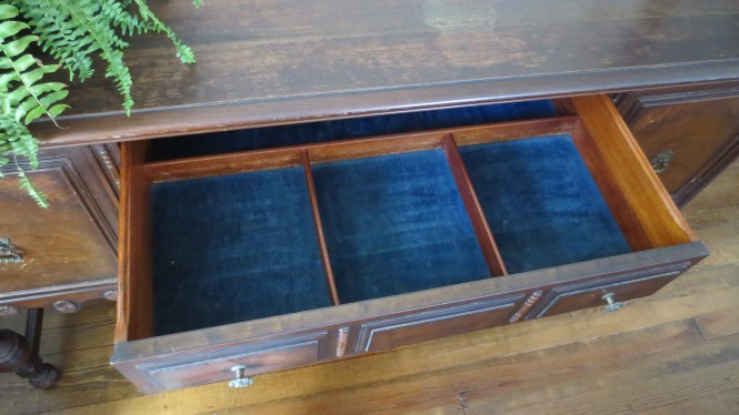 antique buffet sideboard victorian dining room jacobean velvet drawer