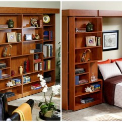 Murphy Bed In Small Living Room Wall Cabinets For 10 Great Space Saving Beds A Shoebox Jefferson Library From More Place Has Ample Storage Books Or Collectibles The