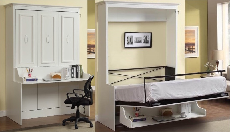Bookcase bed and dining table in one spacesaving unit