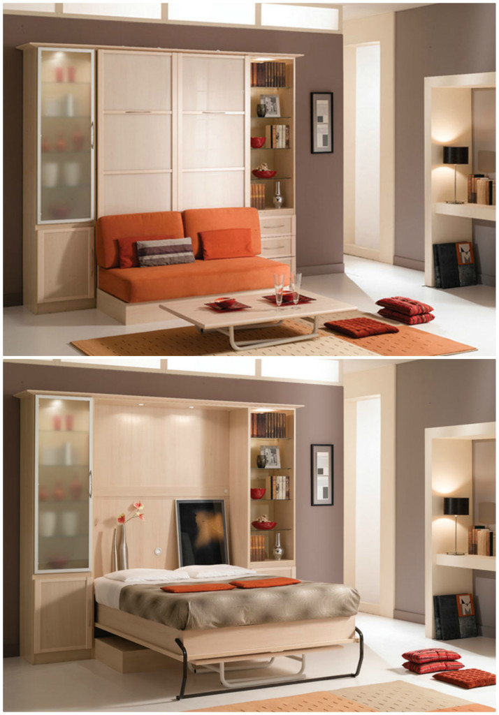 space saving sofa bed sectionals for small es bookcase, and dining table in one space-saving unit ...