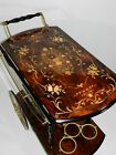 Vintage Italian Marquetry Inlaid Wood Serving Bar Tea Cart
