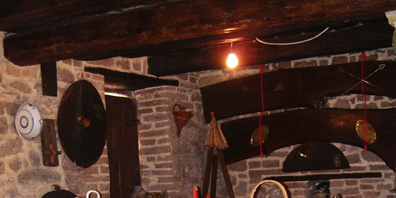 Original ceiling beams in restored stables