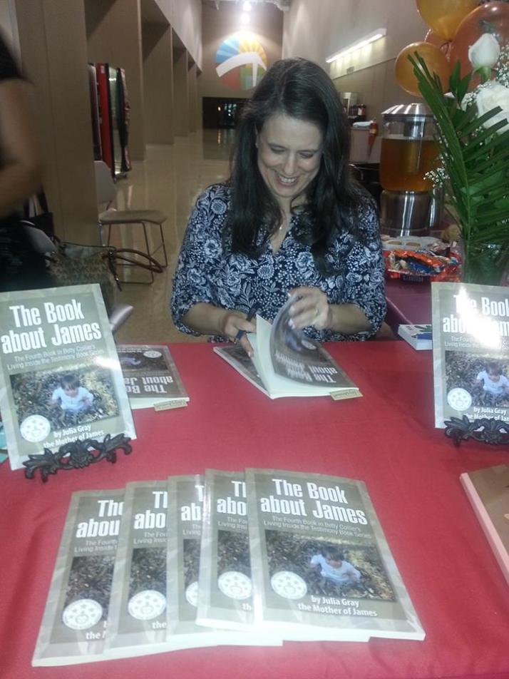 Julia signing books
