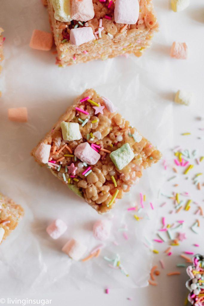 Easter Rice Krispie treats single treat with sprinkles