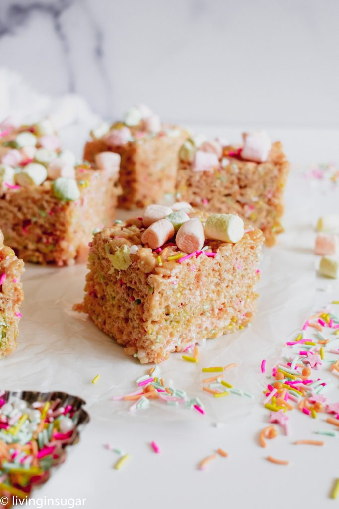 Easter Rice Krispie treats cut into squares