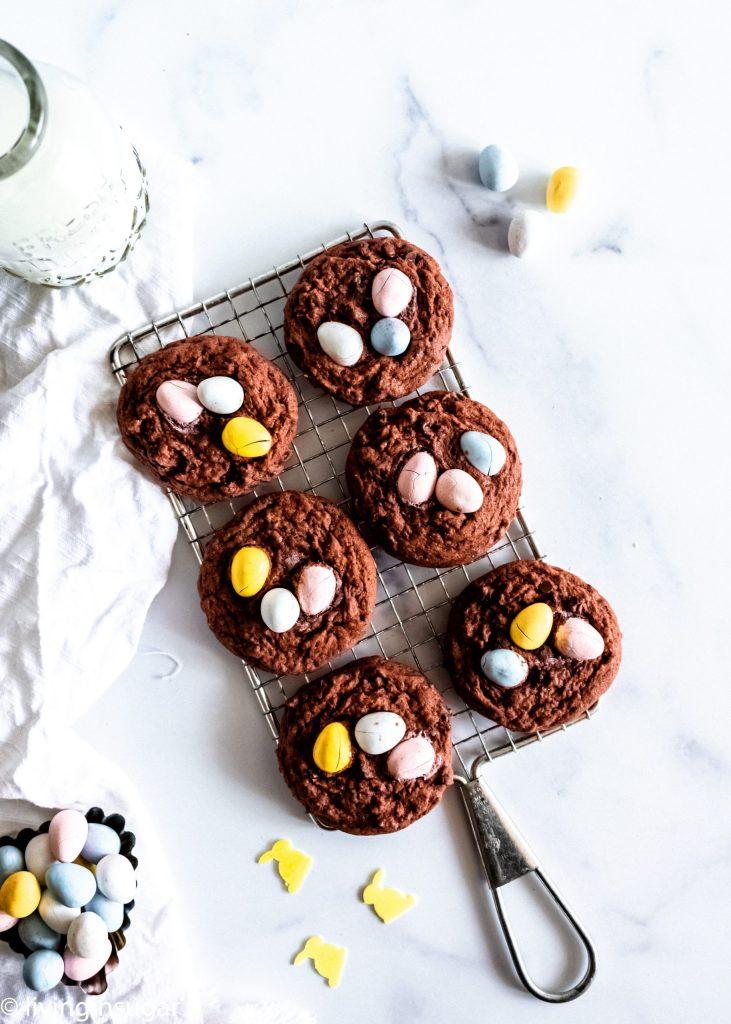 Chocoalte Easter Cookies with mini cadbury eggs