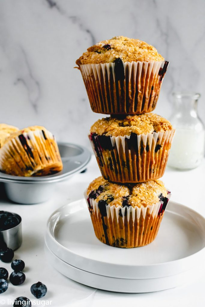Starbucks Style Blueberry Muffins tower